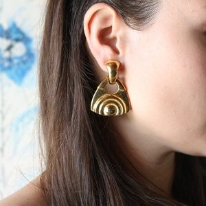 VINTAGE gold triangle earrings